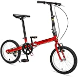 Aoyo 16' Falträder, High-Carbon Stahl Leichtgewichtler Faltrad, Mini Single Speed Verstärkter Rahmen Commuter Bike, leichte, tragbare, (Color : Red)