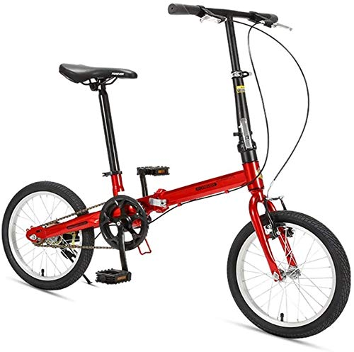 "Aoyo 16\"" Falträder, High-Carbon Stahl Leichtgewichtler Faltrad, Mini Single Speed Verstärkter Rahmen Commuter Bike, leichte, tragbare, (Color : Red)"