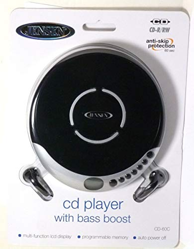 Jensen CD Portable Personal CD Player with 60 Seconds Anti-Skip Protection, FM Radio & Bass Boost + Stereo Earbuds - Black