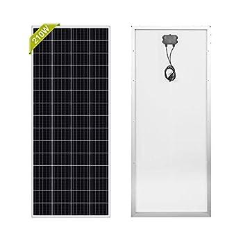 Newpowa 210W Watt  Solar Panel Monocrystalline 12V High Efficiency >200W PV Module for RV Marine Boat Trailer Camper Green House Off Grid System