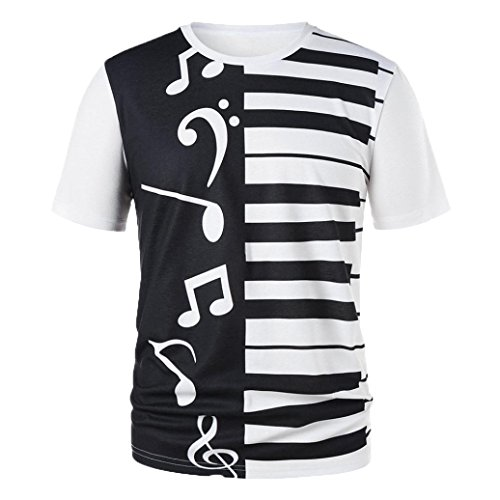 Camiseta para Hombre,RETUROM Hombres Mujeres Pareja Llaves Piano Notas Musicales Imprimir Camiseta Imprimir Camisetas Tops Blusa (XL)