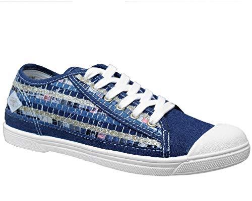 Le Temps des Cerises, Basic02 Patchwork, scarpe da ginnastica da donna, alla moda, basse, fantasia, Blu (Jeans), 38 EU