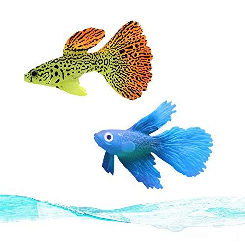 NA Lmbqye Aquarium Dekoration Simulationsfisch, 2PCS leuchtende Zierfische, Fluoreszierende Silikonfische für die Dekoration von Aquarien, künstliche Fische, schwimmende Fischdekorationen