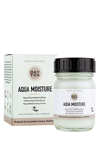 DAYTOX - Aqua Moisture - Aqua Feuchtigkeitscreme mit Rhabarber und Gurkenextrakten- Intensive Feuchtigkeitspflege gegen freie Radikale - Vegan, ohne Farbstoffe, silikonfrei und parabenfrei - 50 ml