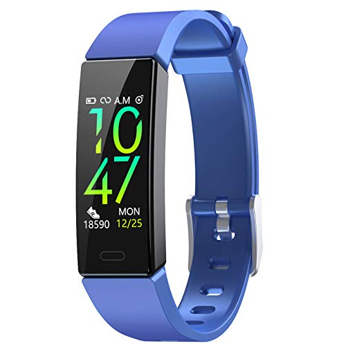 Fitness Tracker with Blood Pressure Heart Rate Sleep Monitor, Waterproof Activity Tracker Compatible with Fitbit, Android and iOS (Blue, No Need Charge Cable)