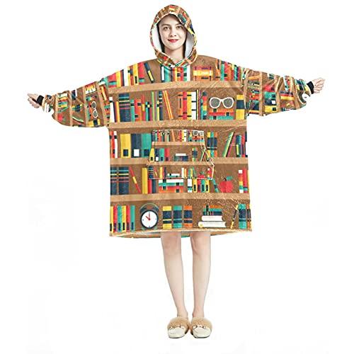 Manta con capucha, casual suave microfibra casera, camisón cálido para hombres y mujeres con estantes con diseños de libros