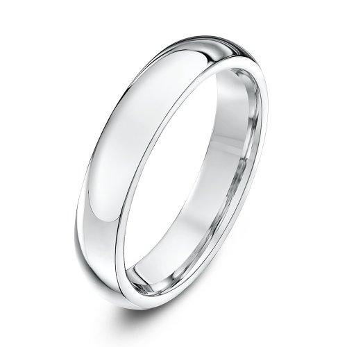 Theia Unisex Super Heavy Court Shape Polished 9 ct White Gold 4 mm Wedding Ring - Size T