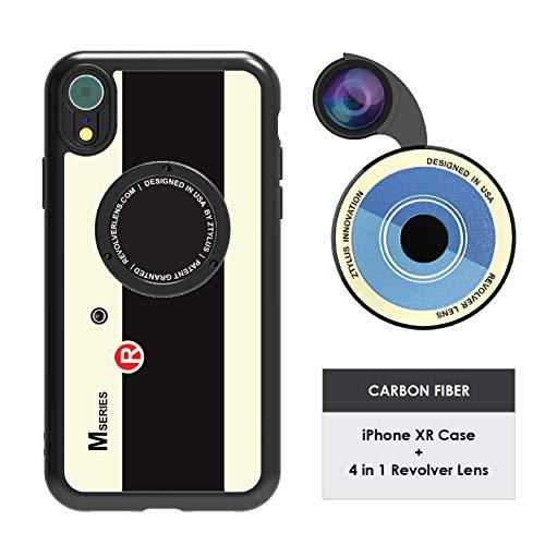 Ztylus Designer Revolver M Series Camera Kit: 4 in 1 Lens + iPhone XR Case, Smartphone Lens Kit Accessory – Fisheye Lens, Wide Angle Lens, Macro Lens, CPL (Retro Camera)