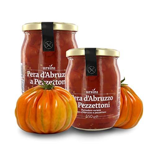 Ursini Tomates Pelados y troceados en conserva al Natural, Variedad Pera d'Abruzzo - 550 gr (Paquete de 2 Piezas)