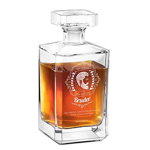 Murrano Whisky Karaffe mit Gravur - Whisky Dekanter - 700ml - Geschenk zum Geburtstag für Männer - Bruder