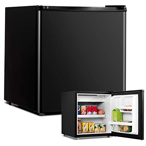 COSTWAY 48L Mini Kühlschrank Kühl-Gefrier-Kombination Flaschenkühlschrank Getränkekühlschrank mit Gefrierfach/wechselbarer Türanschlag / 7 Temperaturstufe einstellbar / 49cm Höhe (Schwarz)