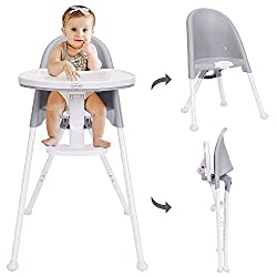 easy to clean grey and white highchair