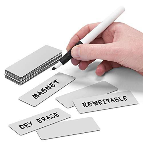 2DOBOARD Magnetstreifen beschreibbar - Wochenplaner, Organizer – Für Metallschränke, Kühlschränke, magnetische Oberflächen - 7,5 cm x 2,5 cm - 25 Balken - Grau
