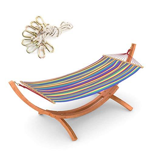 Ampel 24 Hängematte mit Sicherung und Gestell Mauritius 310 cm braun im Set, Hängemattengestell aus Holz, Stabhängematte bunt aus Baumwolle