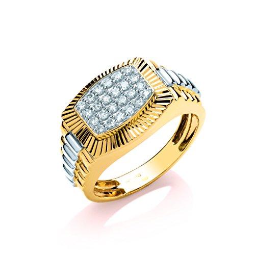 Ring 9 Karat (375) Gelbgold 0,50 Karat Diamant Rolex-Stil