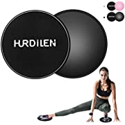 Vdealen Core Sliders, Exercise Gliding Discs Dual Sided Use on Carpet and Hardwood Floors, Abdominal Exercise Equipment, Home Fitness Equipment, Perfect for Abdominal&Core Workouts (Black)