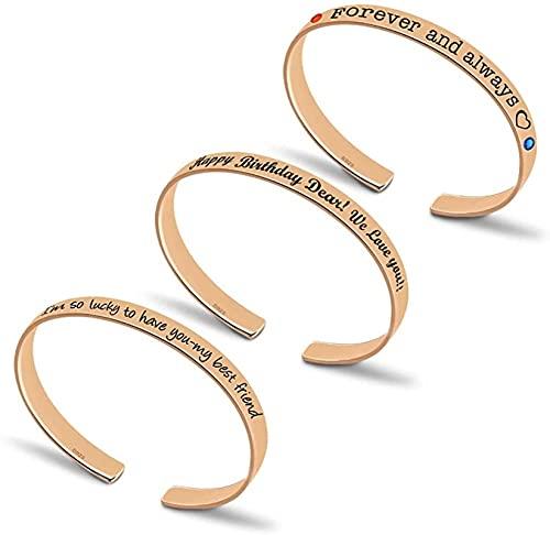 Yimesoy 925 pulsera de plata de ley para mujer tallada con piedra natal simulada-personalizada pulsera de brazalete para mujer RoseGold