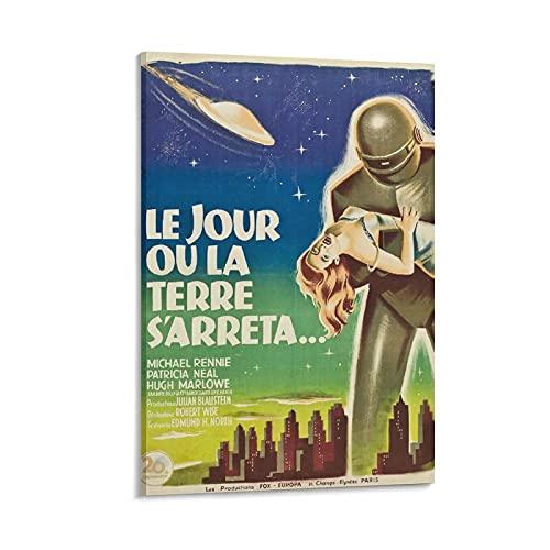 """Poster vintage con film classico, con scritta in lingua inglese """"The Day the Earth Stood Still"""" (lingua italiana non garantita)"""