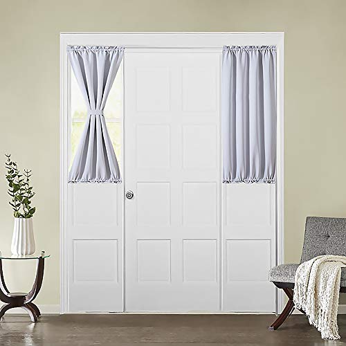MIULEE French Door Curtain Room Darkening Sidelight Drapes Thermal Insulated Half Window Treatment Blackout Curtain for Kitchen/Front Doors with Tieback 25 inch by 40 inch Greyish White 1 Panel