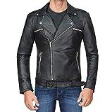 SKY-SELLER Mens Negan Jacket - Walking S7 Jeffrey Dean Morgan Black Biker Leather Jacket -Motorcycle Faux Outerwear