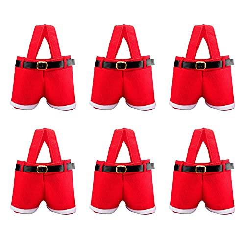 XIAOYAYA Bolsa Estilo Pantalones de Papá Noel, Encantadoras Bolsas de Regalo de Papá Noel, Bolsas, Bolsa de Dulces de Boda para Decoraciones navideñas