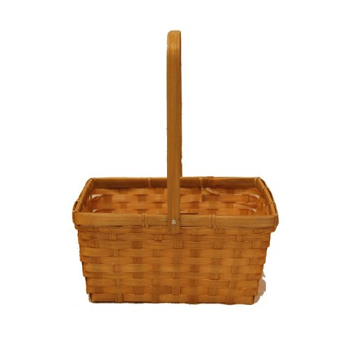 The Lucky Clover Trading Bamboo Rectangular Basket in Honey with Swing Handle
