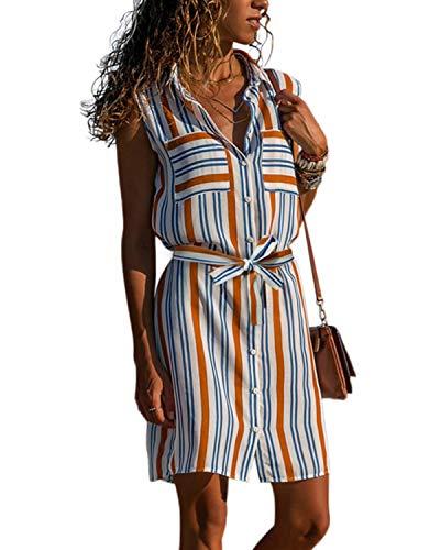 kenoce - Vestido de manga larga con cuello en V y bolsillos laterales, tipo túnica, con cinturón, para mujer