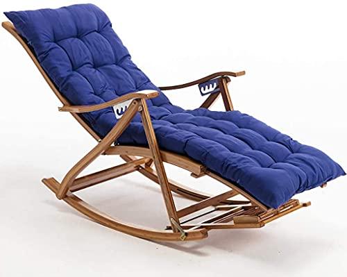 Sillas de oscilación de jardín con Pad, Silla al Aire Libre de bambú para Dormitorio, sillones de Piscina, Silla reclinable con Respaldo Ajustable y reposapiés para Sala de Estar (Color : Blue)
