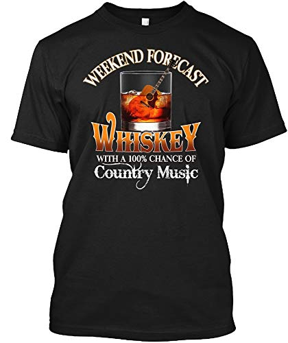 Whiskey and Country Music Weekend Forecast Camiseta Estampada de algodón para Hombre, Camiseta de Moda de Manga Corta Transpirable de Verano para escuelas