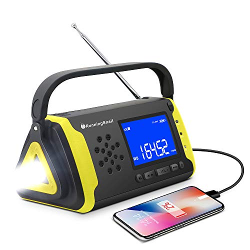 Emergency NOAA Weather Crank Solar Powered Portable Radio with 4000mAh Battery Power for Cell Phone,...