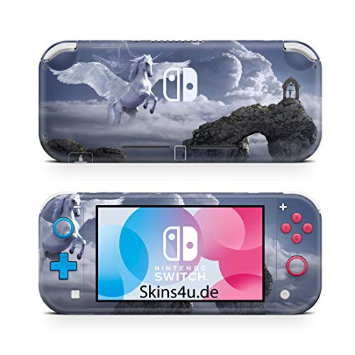 Skins4u Premium Slim Skin Design Aufkleber Schutzfolie Skins für Nintendo Switch Lite Vorder & Rückseite Pegasus