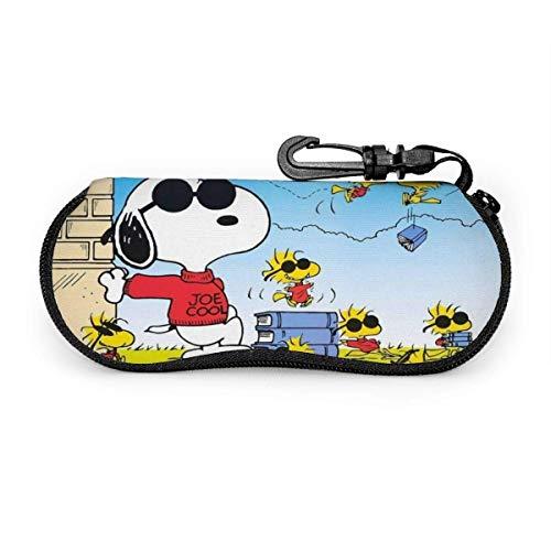 Estuche para anteojos Estuche para gafas de sol Snoopy de dibujos animados Estuche para anteojos con cremallera de neopreno ultra suave y ligero con clip para cinturón