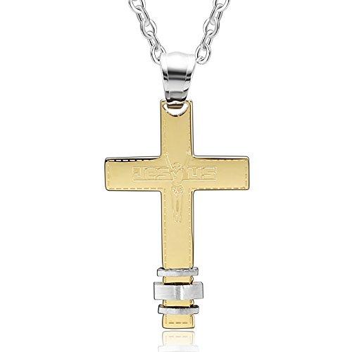 AueDsa Colgante Acero Inoxidable Mujer Collar Oro Jesus Cruz