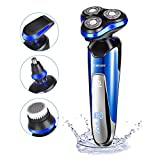 Electric Shaver INKERSCOOP Electric Shaver 4 in 1 Men's Shaver 3 Sheets Multifunction Blade Razor Nose Haircut Water Wash Electric Shave USB Fast Charge Portable for Your Daily Use and Travel