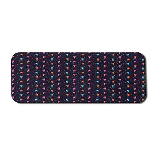 Seepferdchen-Computer-Mauspad, Aquarell-Muster mit exotischen Meeresfischen Bunte kleine Punkte, rechteckiges rutschfestes Gummi-Mauspad Großes Indigo-Mehrfarben