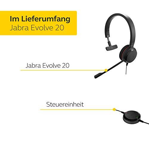 Jabra Evolve 20 UC Mono Headset - Unified Communications Kopfhörer für VoIP Softphone mit passivem Noise-Cancelling - USB-Kabel mit Anrufsteuerung - Schwarz