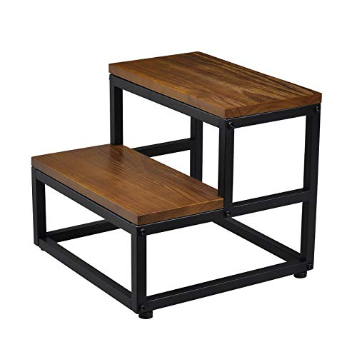RORKEE Wooden Step Stool, Two Step Stool with 400lb Load Capacity for Bedroom, Bathroom and Kitchen - Light Walnut(Assembly Required)