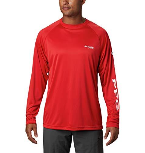 Columbia Men's Terminal Tackle Long Sleeve Shirt, Red Spark/White Logo, Medium