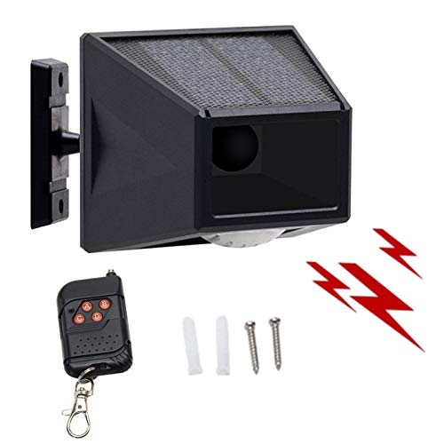 Luz de alarma solar, IP65, impermeable, con control remoto, luz estroboscópica solar con detector de movimiento, para granja, patio, casa, al aire libre