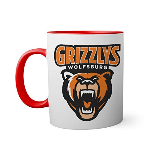 Ice Hockey Team Grizzlys Wolfsburg Eishockey Tasse innen und am Henkel rot außen weiß Mug  Lustige Neuheitstassen für Kaffee und Tee 330ml