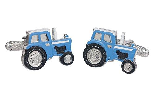 Boutons de manchette tracteur de ferme- Assortiment de couleurs disponibles - Rouge Bleu Vert Argenté, bleu, Taille Unique