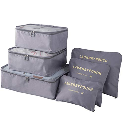 Sq Packing Cubes, 6PCS Best Value Suitcase Organiser, Compressible Luggage Cubes, Luggage Organiser Travel Storage Bags,Gray