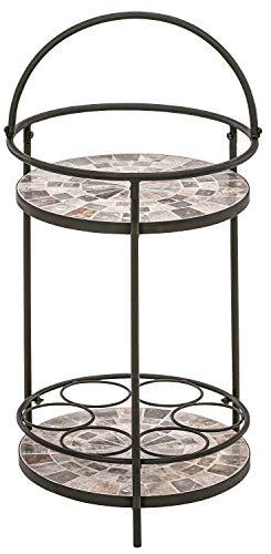 Dehner Mosaik-Beistelltisch Grazia, Ø 41 cm, Höhe 74 cm, Eisen/Stein, braun/grau