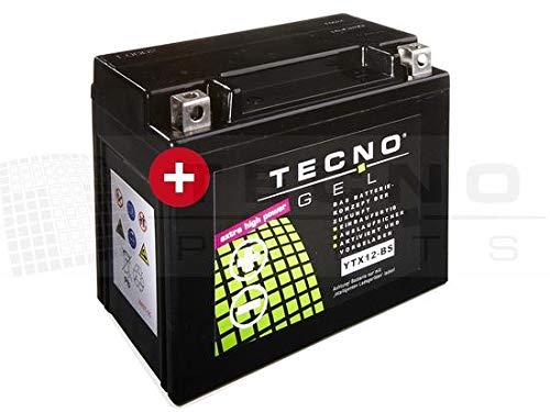 TECNO-GEL Motorrad-Batterie YTX12-BS, 12V Gel-Batterie 12Ah (DIN 51012), 151x87x130 mm inkl. Pfand