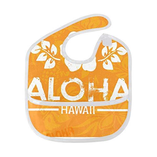 DEZIRO Retro Aloha Hawaii Baby Drooler Bib Baby Bib Waterdicht Wasbaar Vlekbestendig, Pak voor 6-24 Maanden