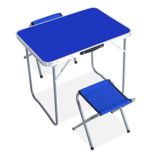 ZWJLIZI Mesa Plegable, hogar al Aire Libre Mesa de Picnic Barbacoa portátil Calle de Aluminio/Exposición /, Azul (Color : B, Size : 80x60x68cm)