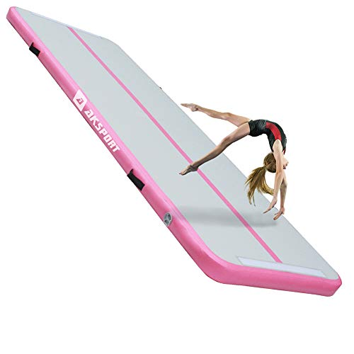 Air Mat Tumble Track 10ft 13ft 16ft 20ft Gymnastics Tumbling Mat Inflatable Tumble Track with Electric Air Pump for Home Use/Tumble/Gym/Training/Cheerleading (Pink++, 10x3.28x0.33ft)