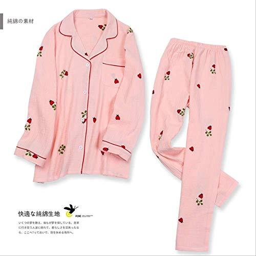 Homeware Cartoon Coccinelle Pyjama Ensemble Femmes 100% Fil de Coton vêtements de Nuit Costume Rides Pantalon à Manches Longues Pijama Mujer lâche vêtements de Maison XL Rose