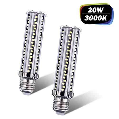 AMBOTHER E27 LED Warmweiß, 20W 2500LM LED Brine E27 Ersatz 200W Glühlampe, 3000K LED Leuchtmittel Glühbirnen Lampe Maiskolben Kleine Kerze Licht Energiesparlampe Kein Flackern, AC220V-240V 2er Pack