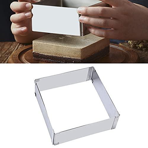 1 molde rectangular para tartas con forma de círculo ajustable de acero inoxidable, ideal para tartas, postres, mousse